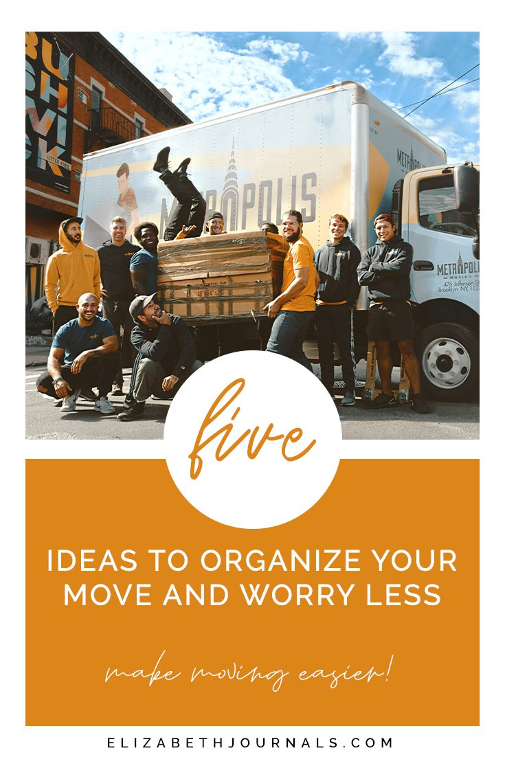 pinterest image-five ideas to organize your move and worry less-make moving easier-group of people posing in front of moving vehicle with box