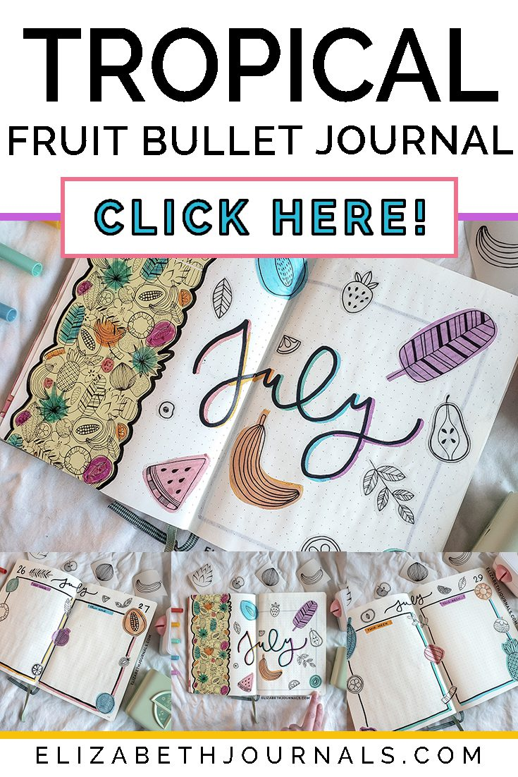 pinterest image-tropical fruit bullet journal-click here- 4 layout previews-bright colors copy