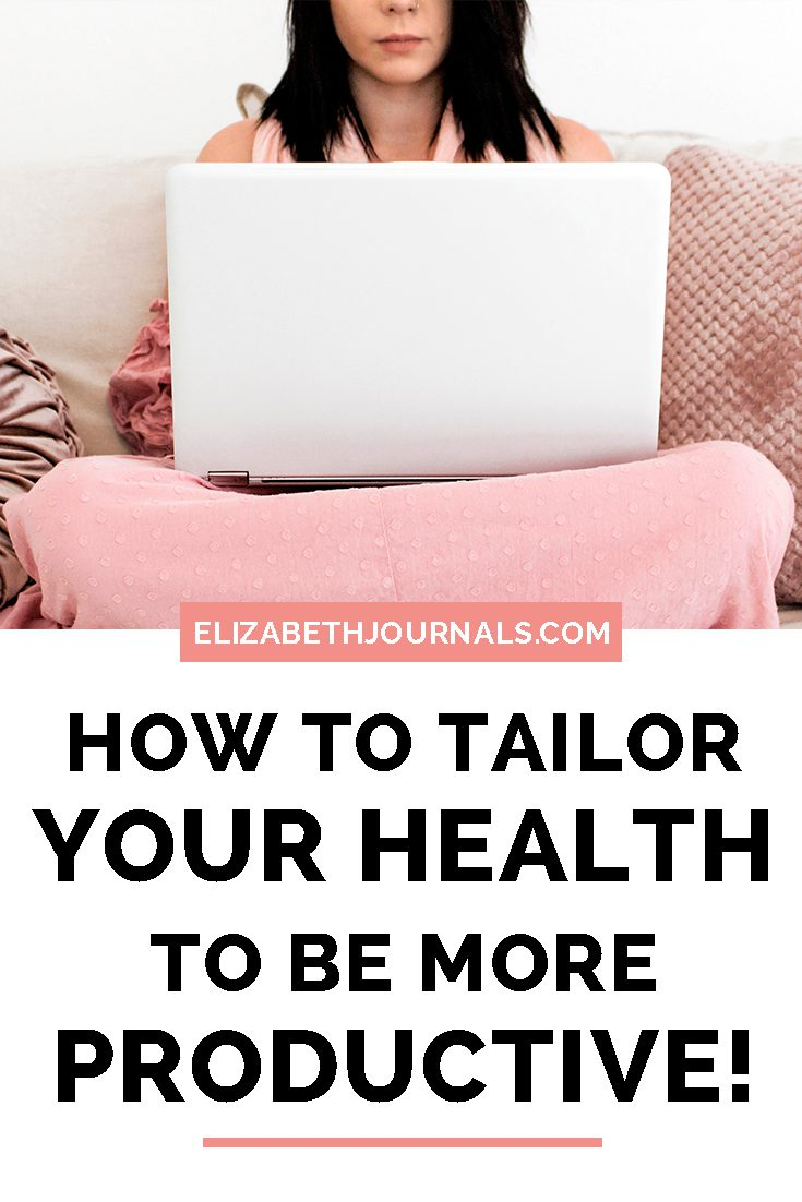 PINTEREST IMAGE-how you can tailor your health to be productive-clicker here-woman sitting on couch with laptop not smiling