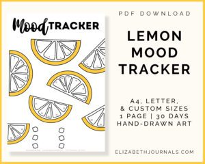 lemon mood tracker-pdf download-a4 letter and custom sizes-1 page-30 days-hand-drawn art-preview image