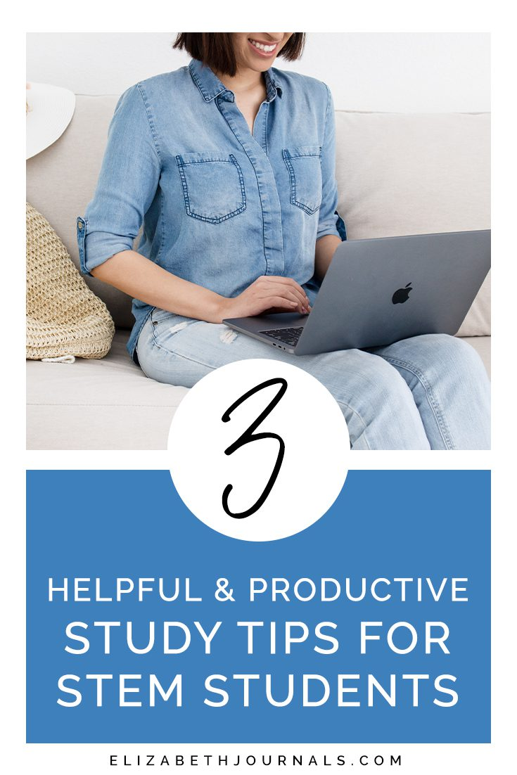 pinterest image-women in denim on couch smiling at laptop on lap-3 helpfu and productive study tips for stem students