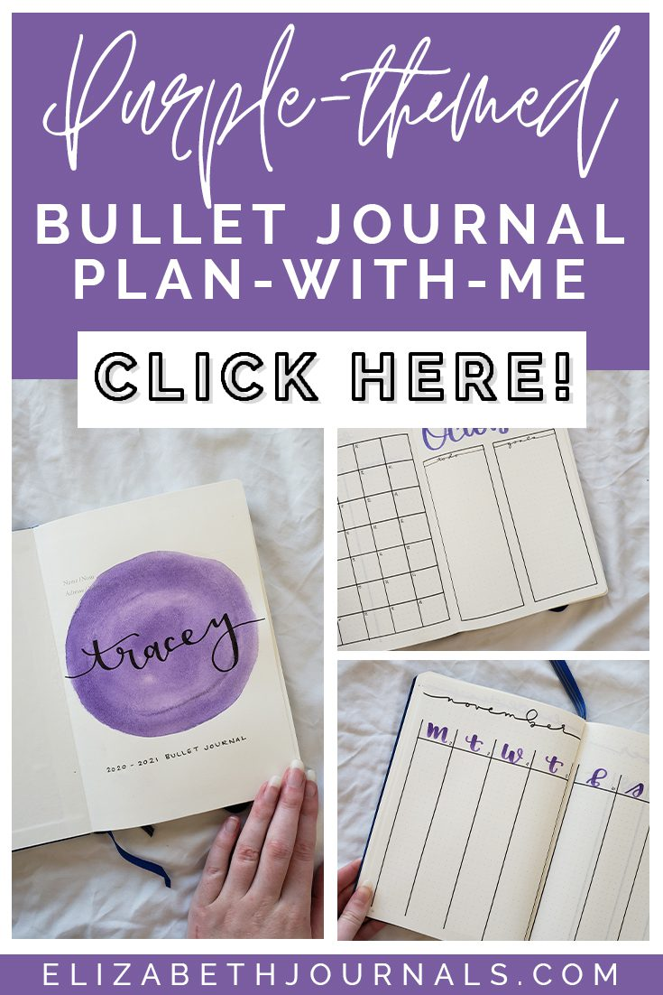 pinterest image_purple themed bullet journal plan with me_three image previews