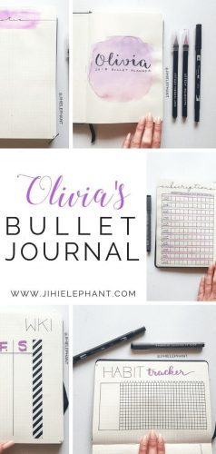 Here is a breakdown of the bullet journal inspired planner created for Olivia. Olivia's notebook was created with the main color being purple.